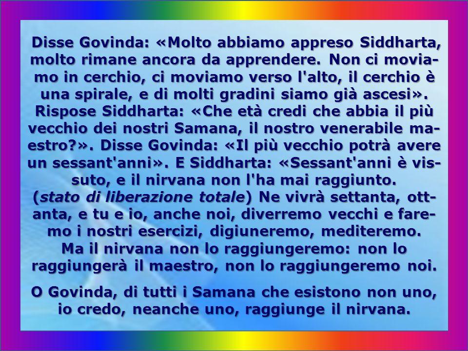 Ma che io, Siddharta, nelle mie pratiche e concen- trazioni trovo soltanto una passeggera ebbrezza e rimango tanto lontano dalla saggezza, dalla soluz