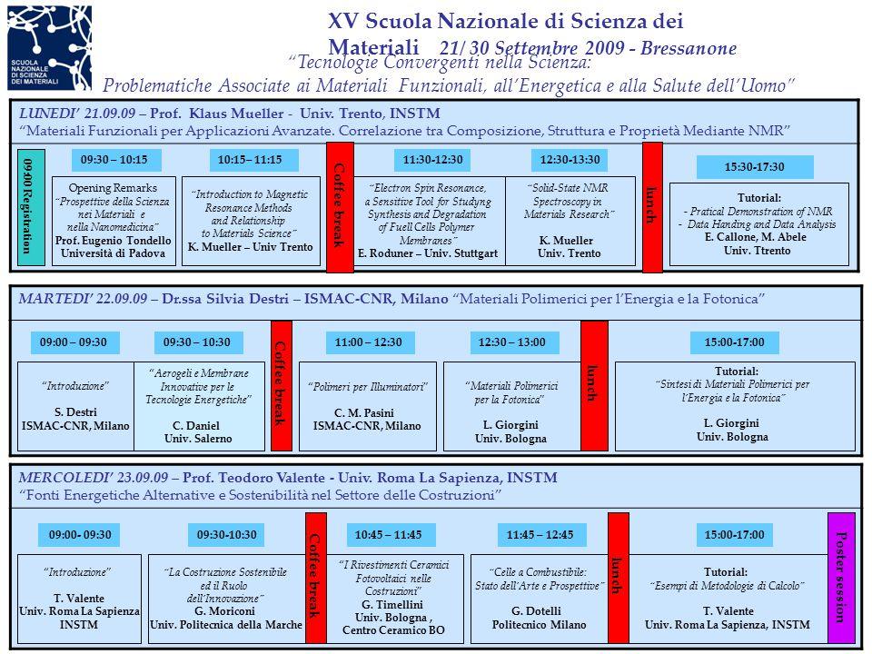 XV Scuola Nazionale di Scienza dei Materiali 21/ 30 Settembre 2009 - Bressanone LUNEDI' 21.09.09 – Prof.