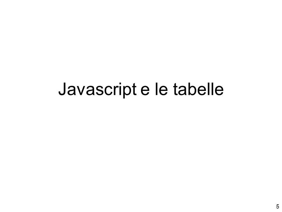 5 Javascript e le tabelle