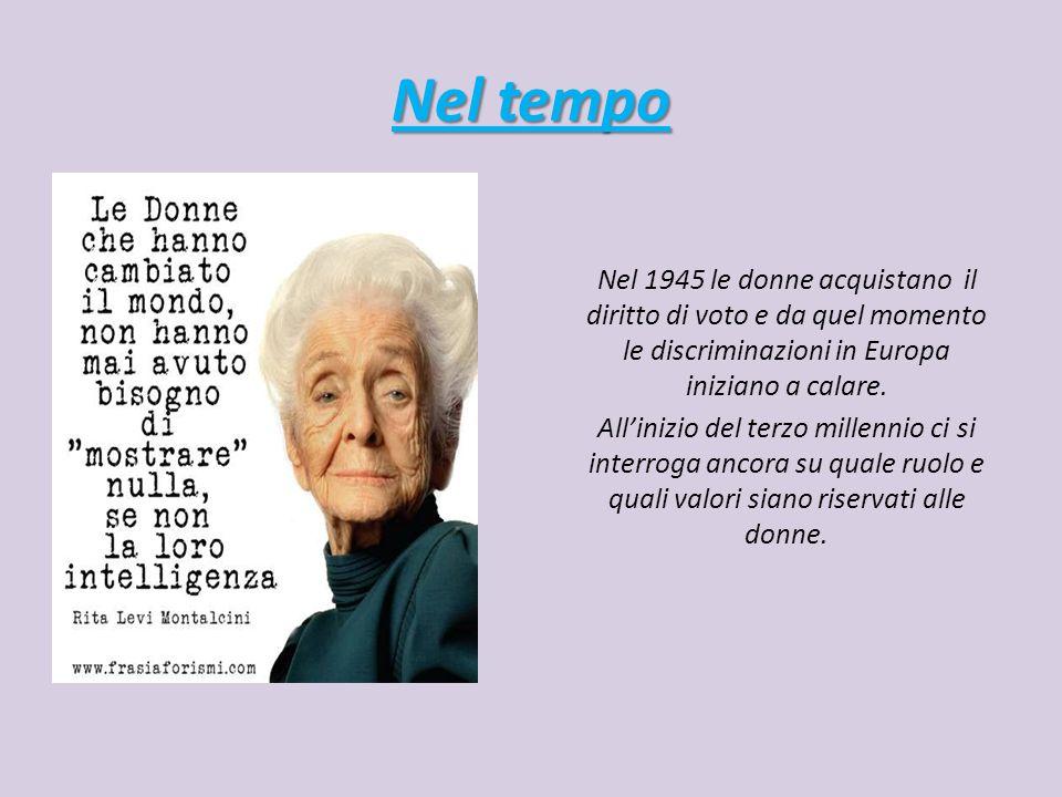 Nel tempo Nel 1945 le donne acquistano il diritto di voto e da quel momento le discriminazioni in Europa iniziano a calare.