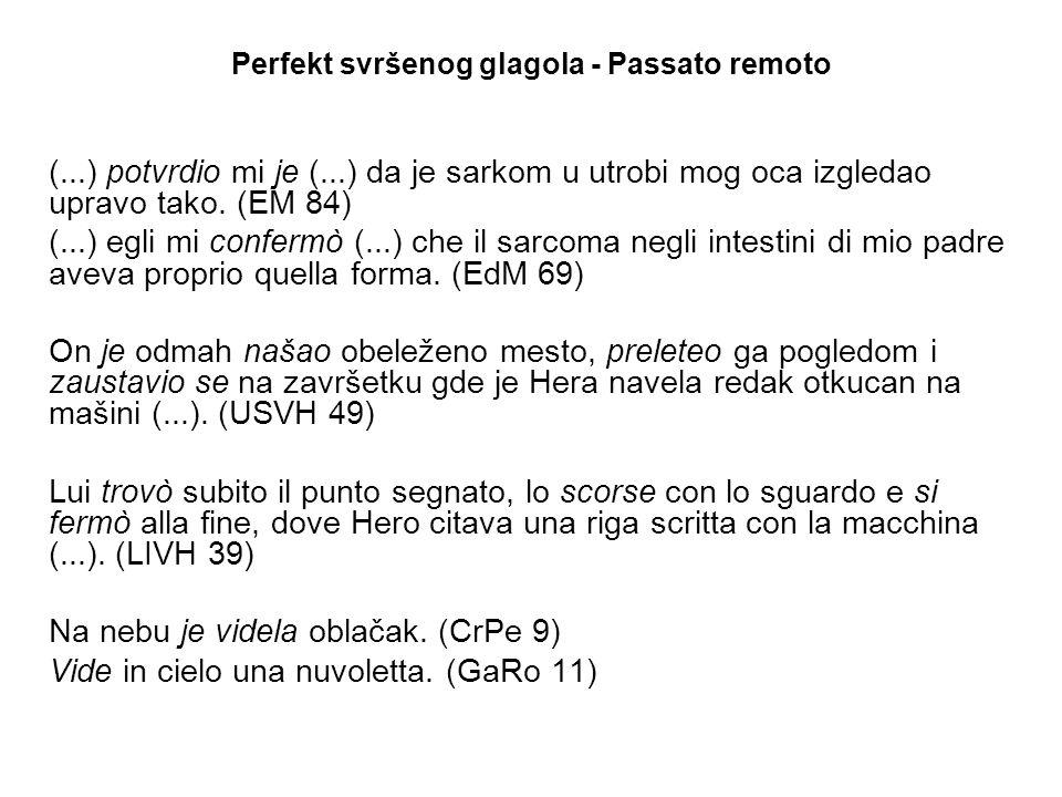 Perfekt svršenog glagola - Passato remoto (...) potvrdio mi je (...) da je sarkom u utrobi mog oca izgledao upravo tako.