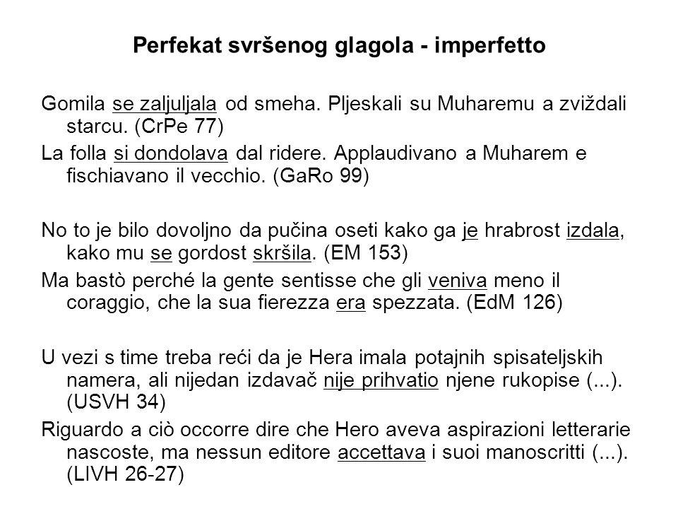 Perfekat svršenog glagola ‑ imperfetto Gomila se zaljuljala od smeha.