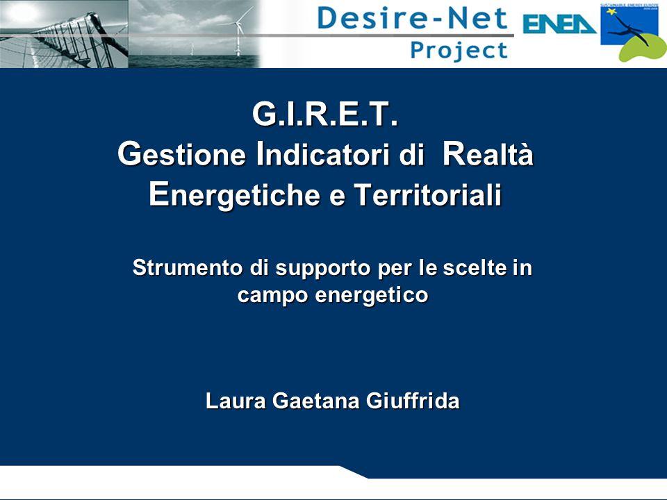 G.I.R.E.T. G estione I ndicatori di R ealtà E nergetiche e Territoriali Strumento di supporto per le scelte in campo energetico Laura Gaetana Giuffrid