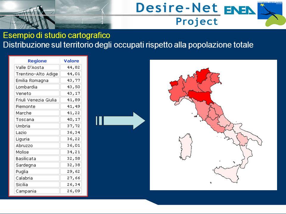 Esempio di studio cartografico Distribuzione sul territorio degli occupati rispetto alla popolazione totale