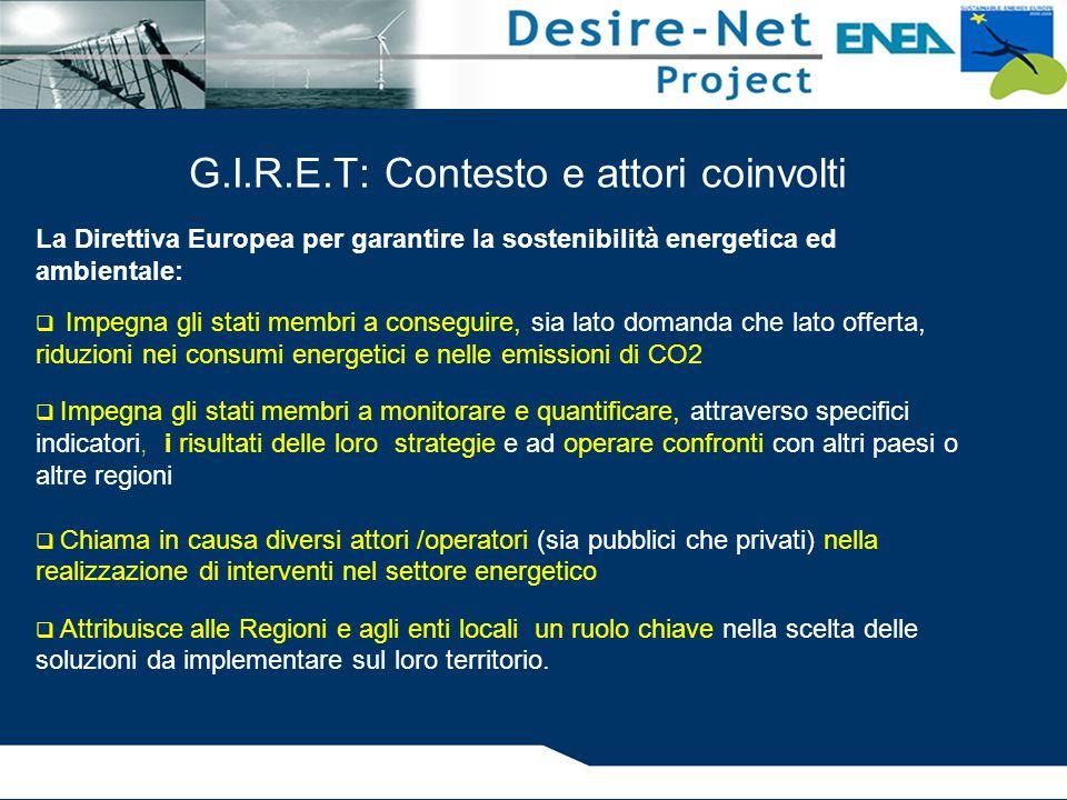 G.I.R.E.T: Contesto e attori coinvolti La Direttiva Europea per garantire la sostenibilità energetica ed ambientale:  Impegna gli stati membri a cons