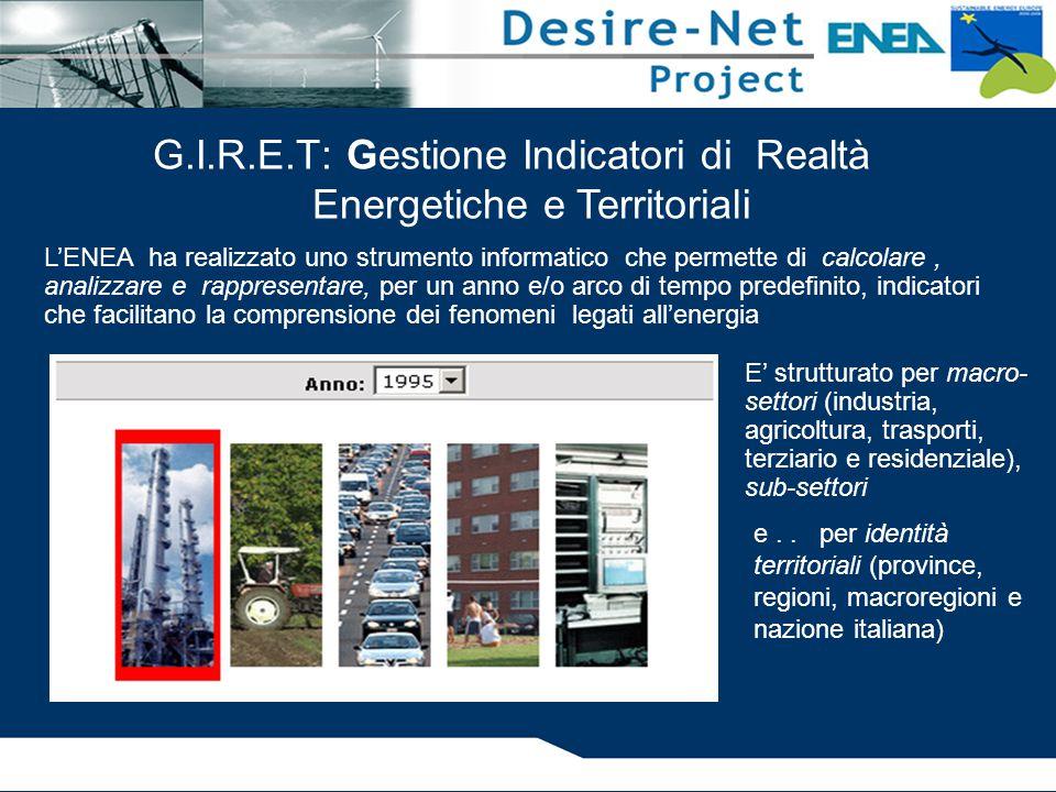 G.I.R.E.T: Gestione Indicatori di Realtà Energetiche e Territoriali E' strutturato per macro- settori (industria, agricoltura, trasporti, terziario e residenziale), sub-settori e..