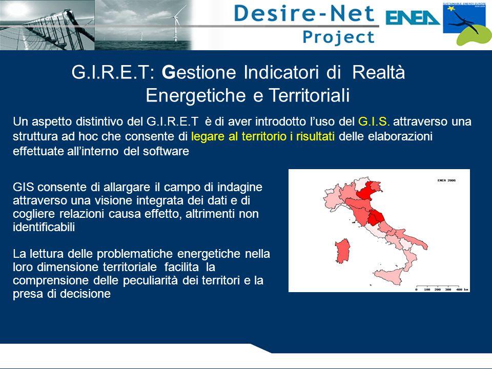 G.I.R.E.T: Gestione Indicatori di Realtà Energetiche e Territoriali Un aspetto distintivo del G.I.R.E.T è di aver introdotto l'uso del G.I.S. attraver
