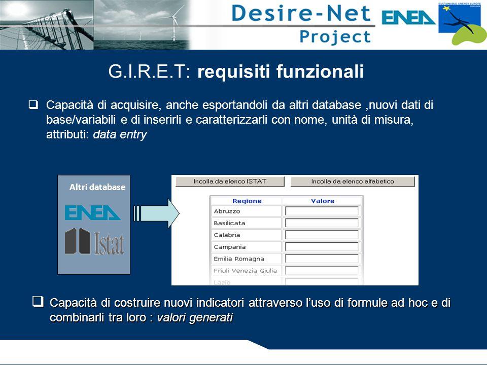 G.I.R.E.T: requisiti funzionali  Capacità di acquisire, anche esportandoli da altri database,nuovi dati di base/variabili e di inserirli e caratteriz