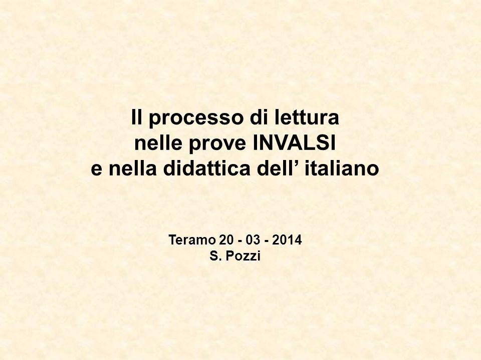 Il processo di lettura nelle prove INVALSI e nella didattica dell' italiano Teramo 20 - 03 - 2014 S. Pozzi