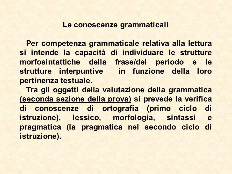 Le conoscenze grammaticali Per competenza grammaticale relativa alla lettura si intende la capacità di individuare le strutture morfosintattiche della