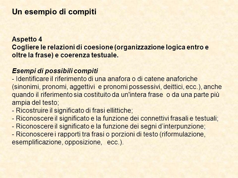 Un esempio di compiti Aspetto 4 Cogliere le relazioni di coesione (organizzazione logica entro e oltre la frase) e coerenza testuale. Esempi di possib
