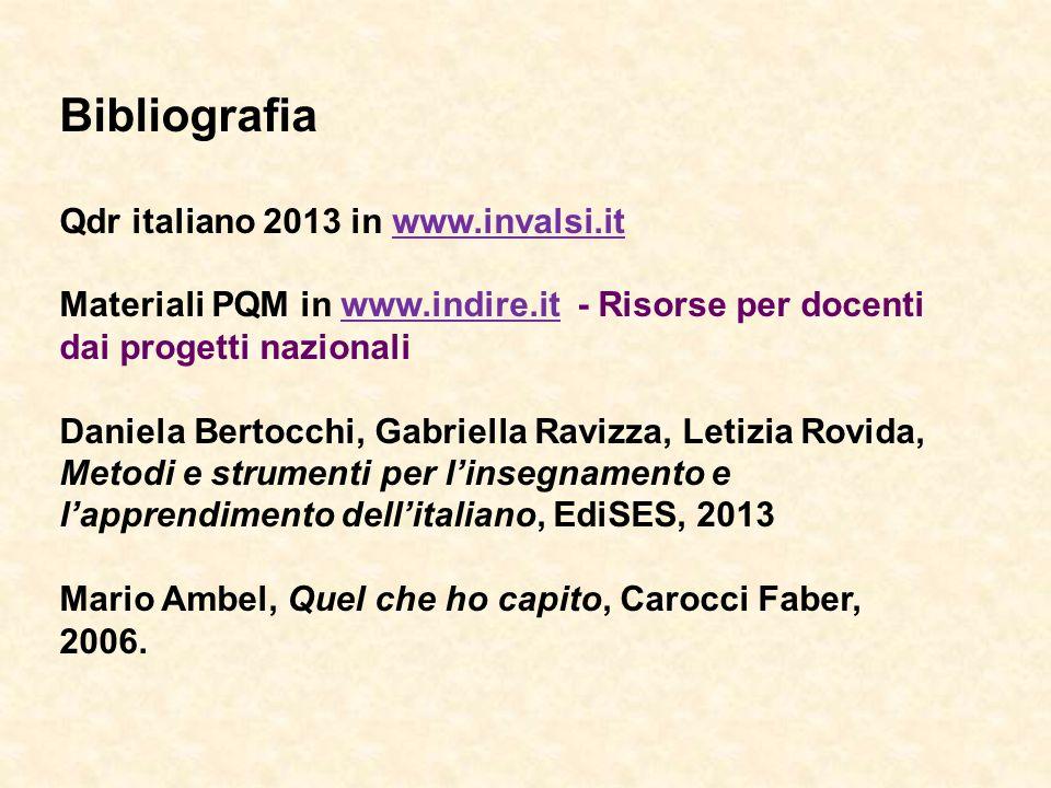 Bibliografia Qdr italiano 2013 in www.invalsi.itwww.invalsi.it Materiali PQM in www.indire.it - Risorse per docenti dai progetti nazionaliwww.indire.i