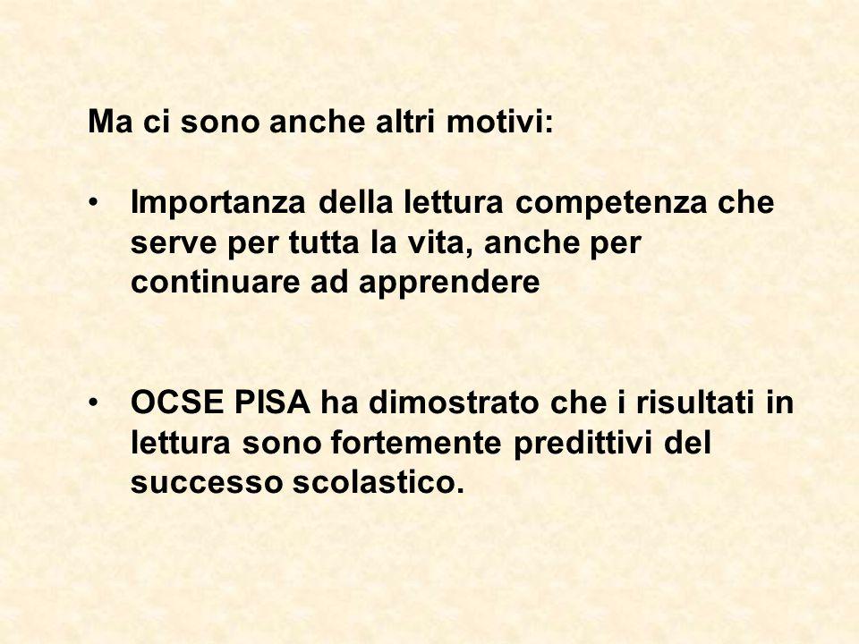 Ma ci sono anche altri motivi: Importanza della lettura competenza che serve per tutta la vita, anche per continuare ad apprendere OCSE PISA ha dimost
