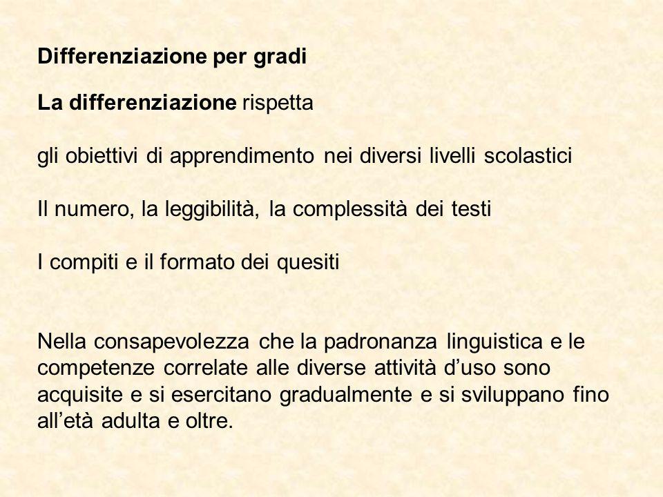 Differenziazione per gradi La differenziazione rispetta gli obiettivi di apprendimento nei diversi livelli scolastici Il numero, la leggibilità, la co