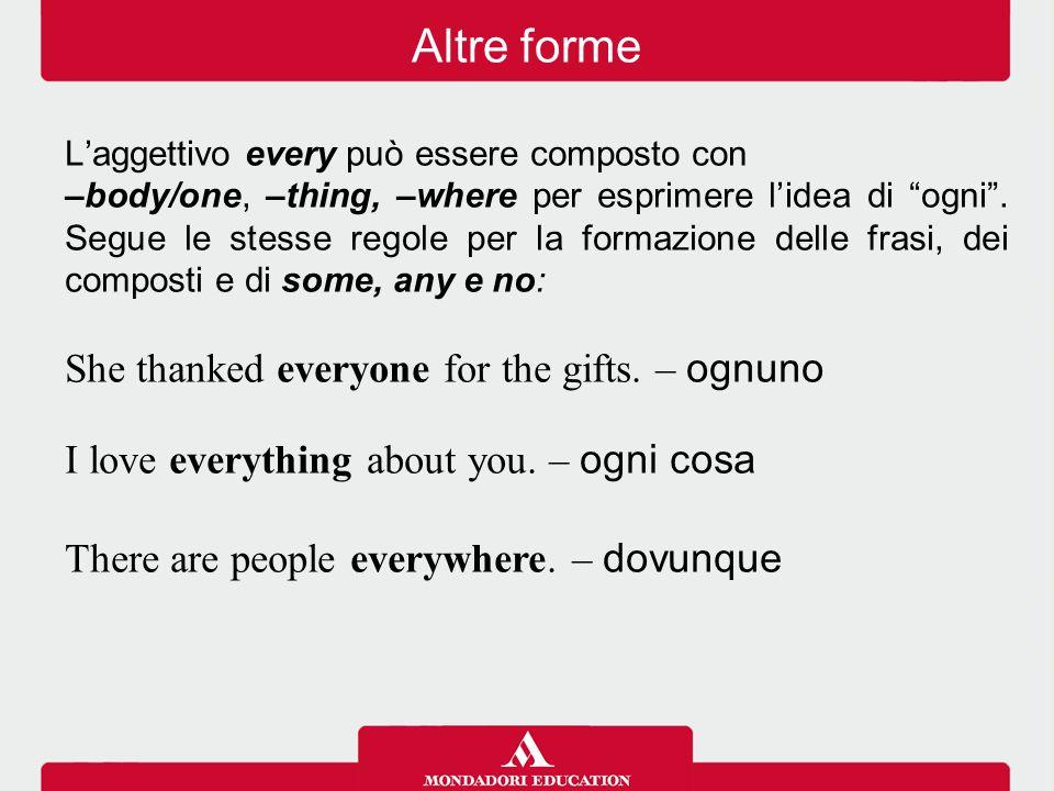 L'aggettivo every può essere composto con –body/one, –thing, –where per esprimere l'idea di ogni .