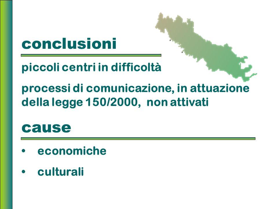 conclusioni piccoli centri in difficoltà processi di comunicazione, in attuazione della legge 150/2000, non attivati cause economiche culturali