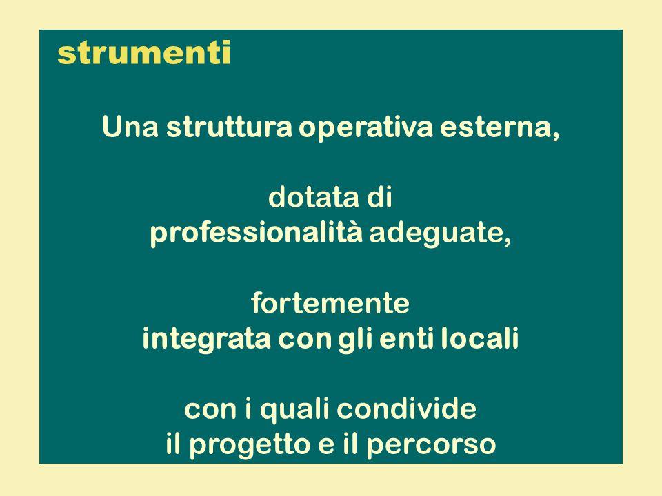 strumenti Una struttura operativa esterna, dotata di professionalità adeguate, fortemente integrata con gli enti locali con i quali condivide il progetto e il percorso