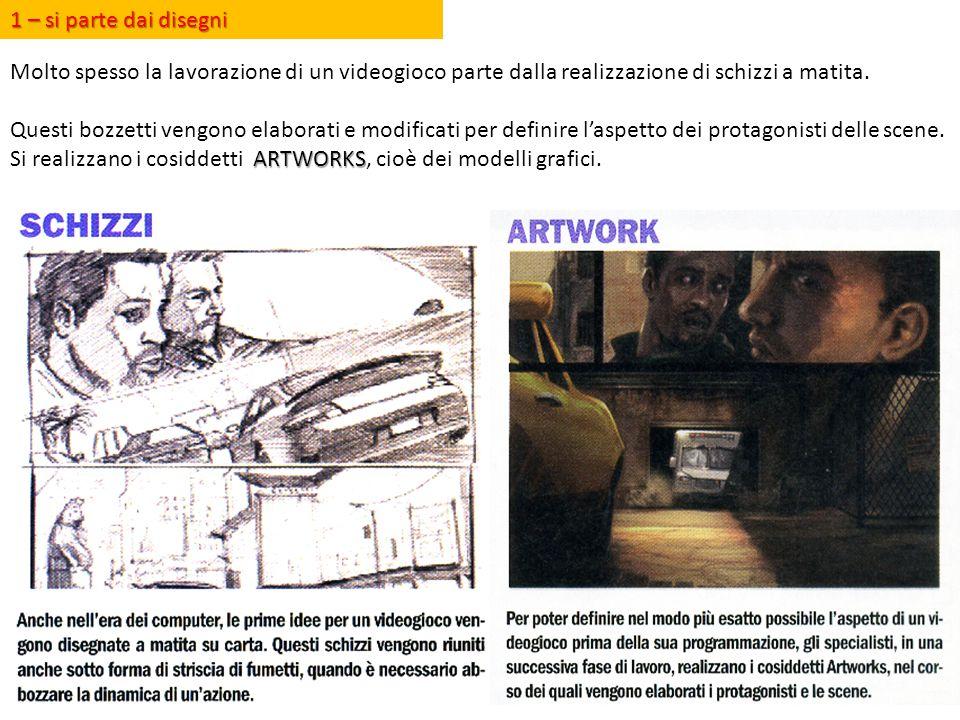 1 – si parte dai disegni Molto spesso la lavorazione di un videogioco parte dalla realizzazione di schizzi a matita. Questi bozzetti vengono elaborati