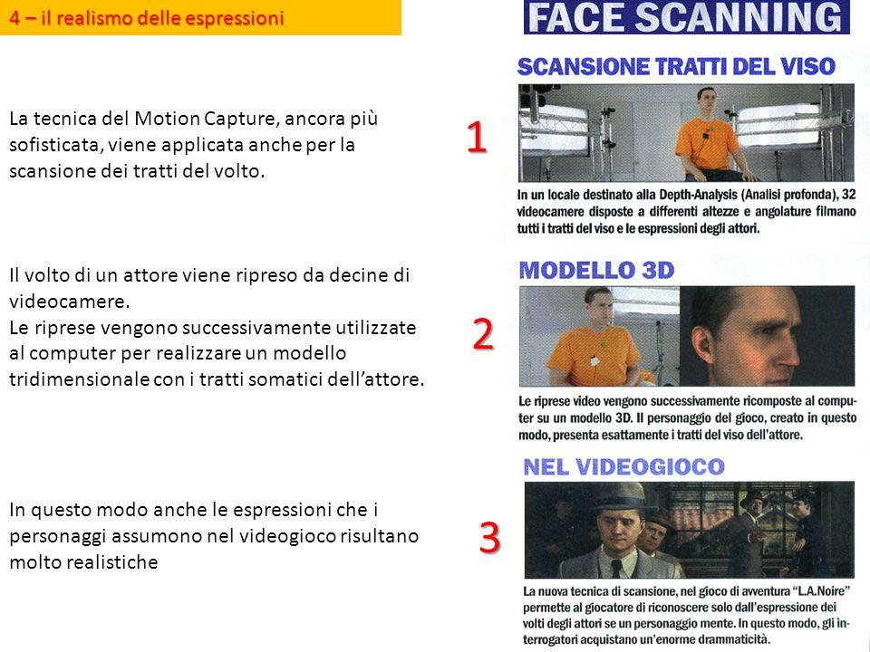 La tecnica del Motion Capture, ancora più sofisticata, viene applicata anche per la scansione dei tratti del volto. Il volto di un attore viene ripres