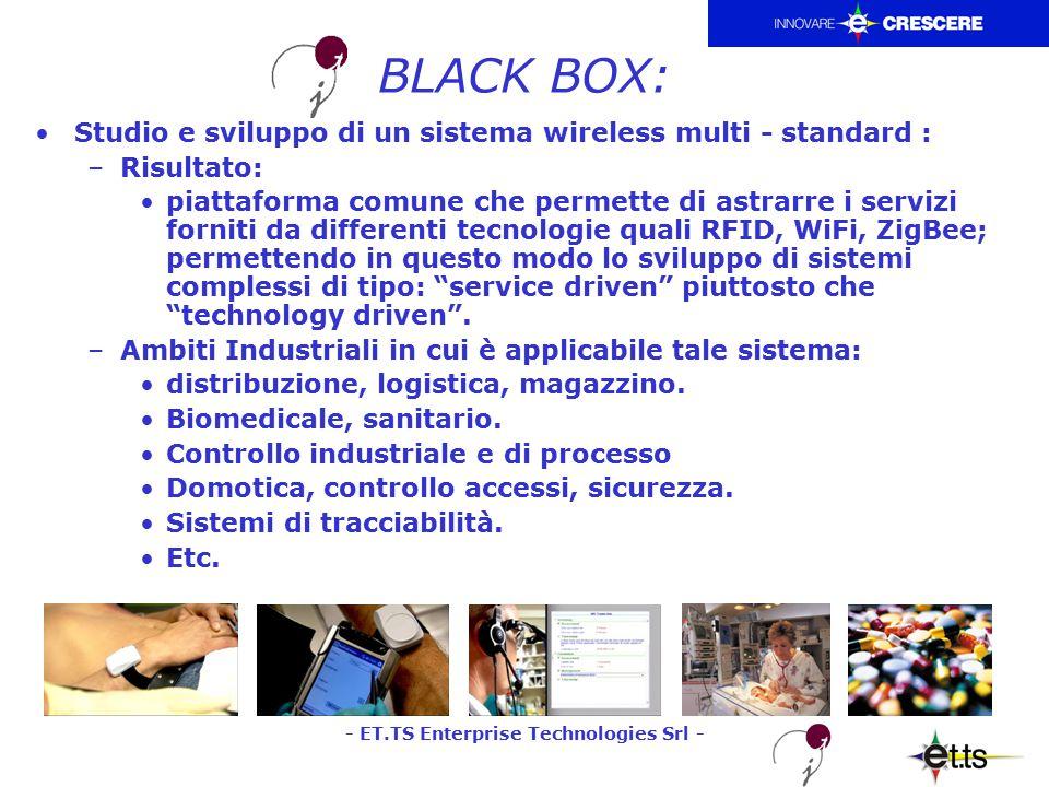 - ET.TS Enterprise Technologies Srl - BLACK BOX: Studio e sviluppo di un sistema wireless multi - standard : –Risultato: piattaforma comune che permette di astrarre i servizi forniti da differenti tecnologie quali RFID, WiFi, ZigBee; permettendo in questo modo lo sviluppo di sistemi complessi di tipo: service driven piuttosto che technology driven .