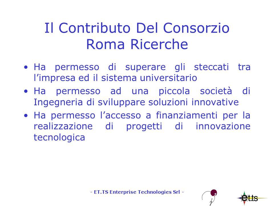 - ET.TS Enterprise Technologies Srl - Il Contributo Del Consorzio Roma Ricerche Ha permesso di superare gli steccati tra l'impresa ed il sistema universitario Ha permesso ad una piccola società di Ingegneria di sviluppare soluzioni innovative Ha permesso l'accesso a finanziamenti per la realizzazione di progetti di innovazione tecnologica