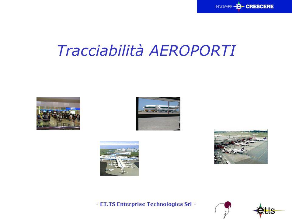 - ET.TS Enterprise Technologies Srl - Tracciabilità AEROPORTI - Necessità: Controllo dell'accesso all'Area Sterile dell'aerodromo –E' necessario garantire che vengano definite le procedure di controllo, per impedire che persone non autorizzate possano accedere all'Area Sterile dell'aerodromo.
