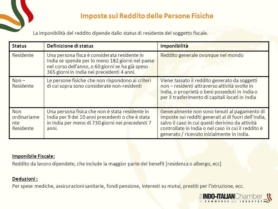 Imposte sul Reddito delle Persone Fisiche La imponibilità del reddito dipende dallo status di residente del soggetto fiscale. StatusDefinizione di sta