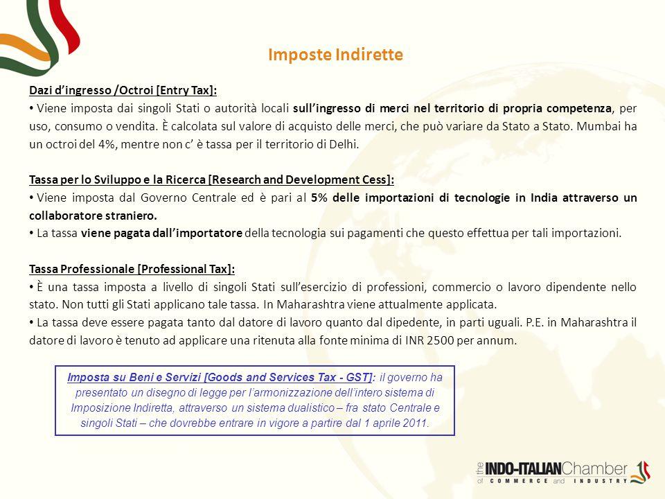 Imposte Indirette Dazi d'ingresso /Octroi [Entry Tax]: Viene imposta dai singoli Stati o autorità locali sull'ingresso di merci nel territorio di prop