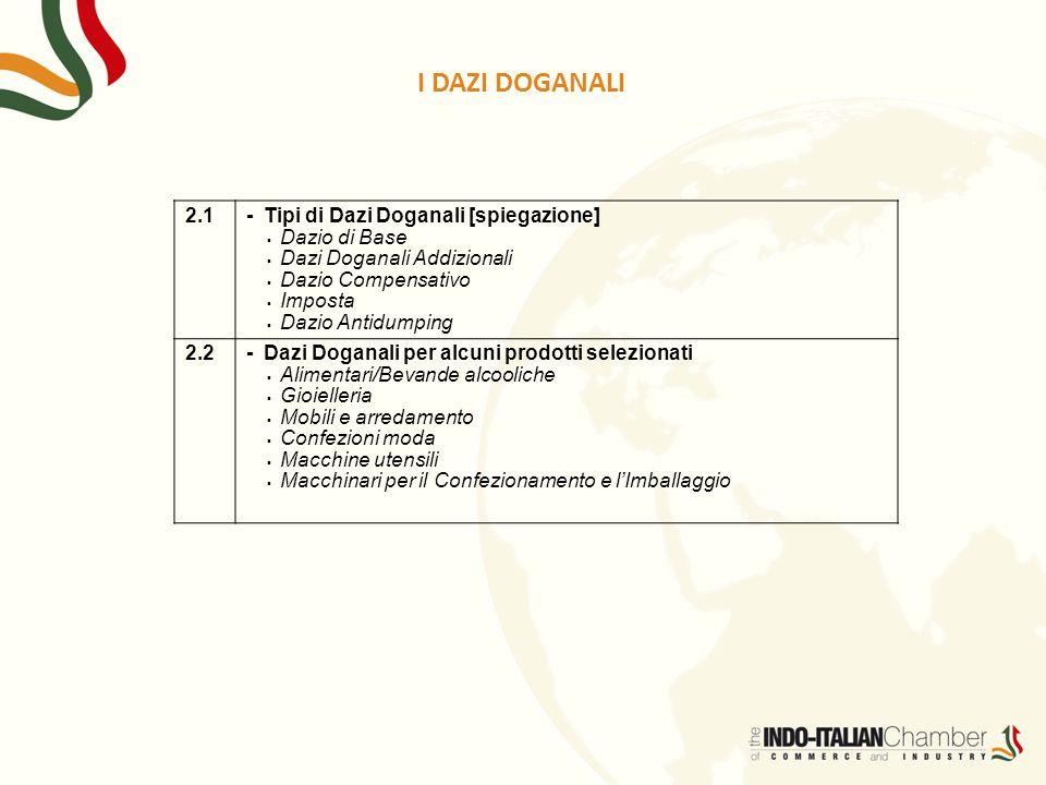 I DAZI DOGANALI 2.1- Tipi di Dazi Doganali [spiegazione]  Dazio di Base  Dazi Doganali Addizionali  Dazio Compensativo  Imposta  Dazio Antidumpin