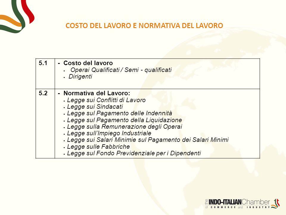 5.1- Costo del lavoro  Operai Qualificati / Semi - qualificati  Dirigenti 5.2- Normativa del Lavoro:  Legge sui Conflitti di Lavoro  Legge sui Sin