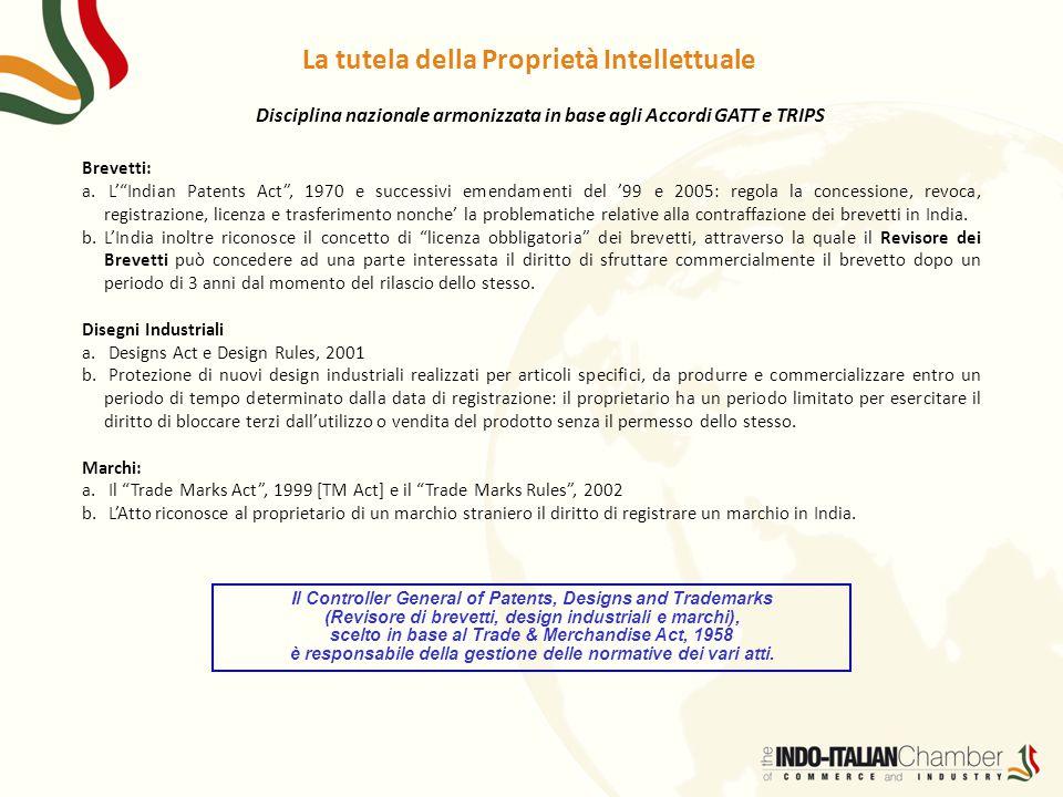 """La tutela della Proprietà Intellettuale Brevetti: a. L'""""Indian Patents Act"""", 1970 e successivi emendamenti del '99 e 2005: regola la concessione, revo"""