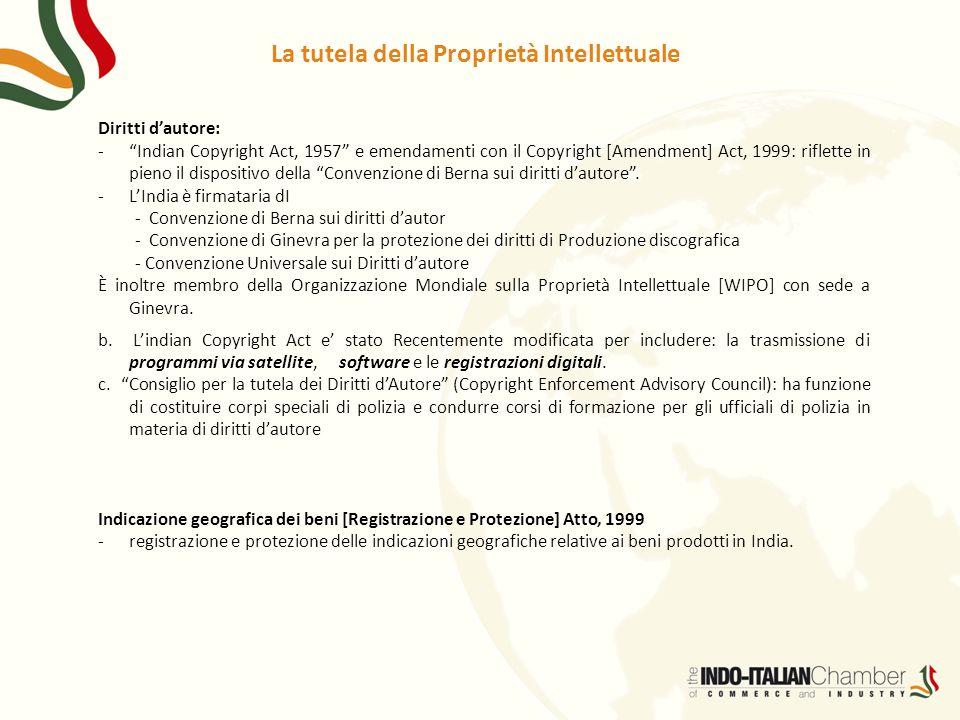 """Diritti d'autore: -""""Indian Copyright Act, 1957"""" e emendamenti con il Copyright [Amendment] Act, 1999: riflette in pieno il dispositivo della """"Convenzi"""