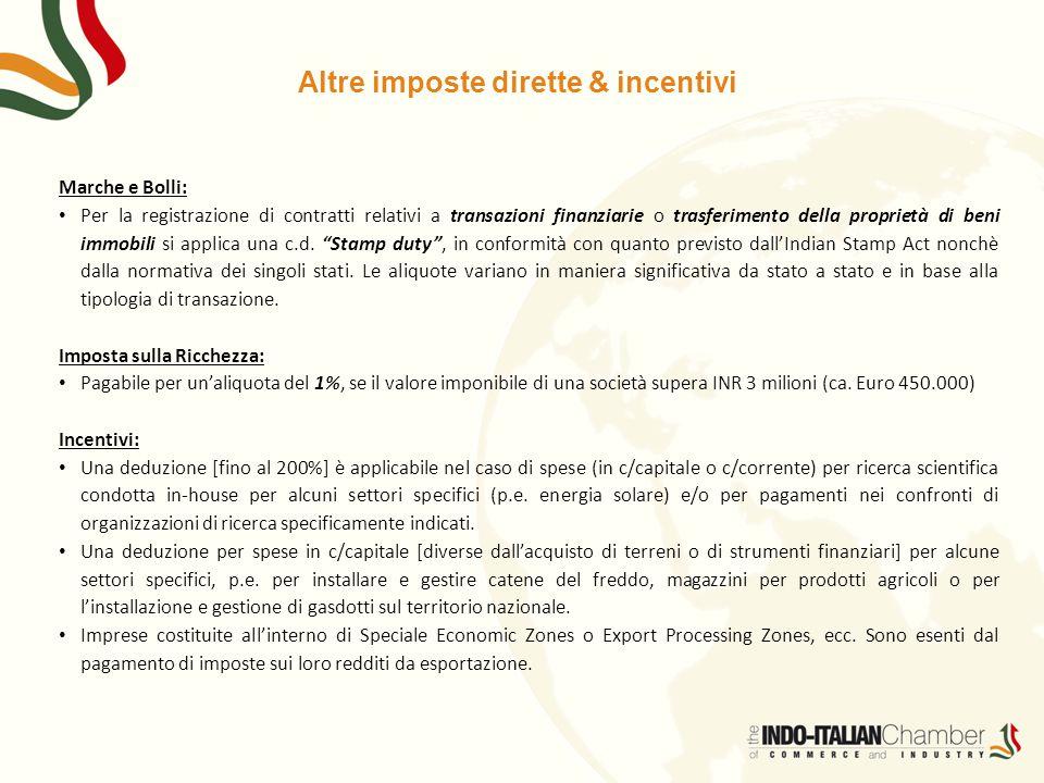 Altre imposte dirette & incentivi Marche e Bolli: Per la registrazione di contratti relativi a transazioni finanziarie o trasferimento della proprietà
