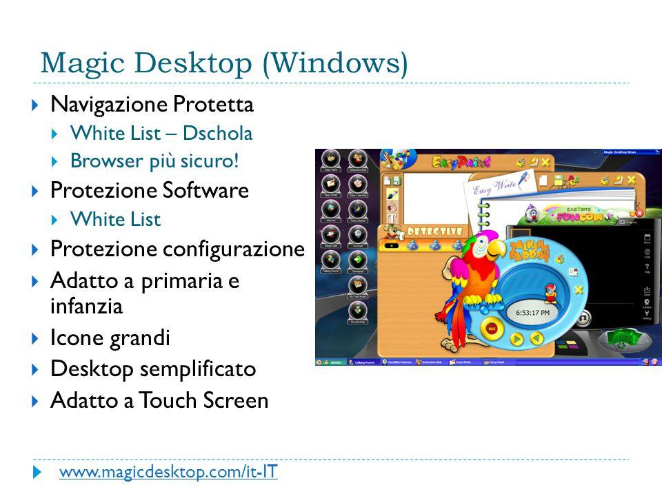 Magic Desktop (Windows)  Navigazione Protetta  White List – Dschola  Browser più sicuro!  Protezione Software  White List  Protezione configuraz