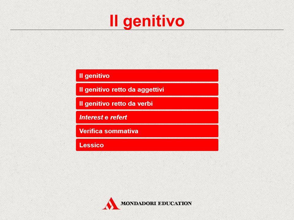 Il genitivo retto da aggettivi Interest e refert Il genitivo retto da verbi Verifica sommativa Lessico