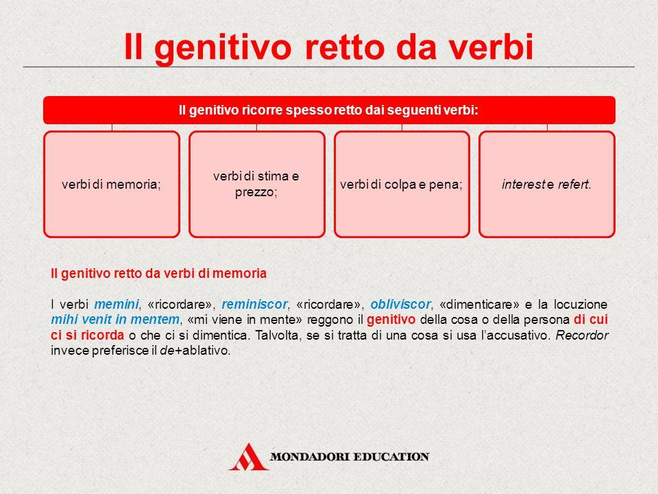 Il genitivo retto da aggettivi Il genitivo retto da aggettivi (o participi attributivi), in genere ricorre con aggettivi indicanti: ricordo o dimentic