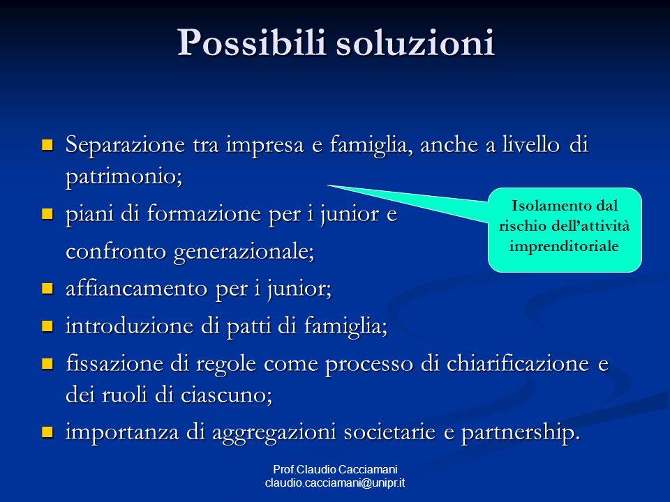 Prof.Claudio Cacciamani claudio.cacciamani@unipr.it Possibili soluzioni Separazione tra impresa e famiglia, anche a livello di patrimonio; Separazione