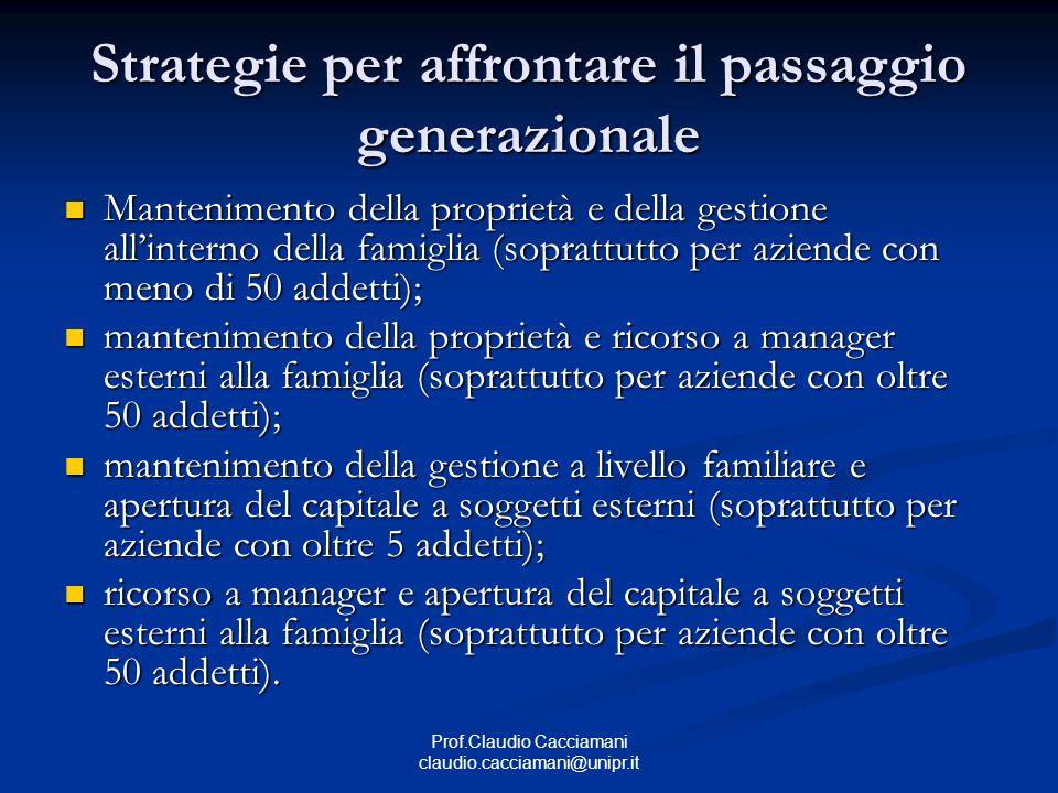 Prof.Claudio Cacciamani claudio.cacciamani@unipr.it Strategie per affrontare il passaggio generazionale Mantenimento della proprietà e della gestione