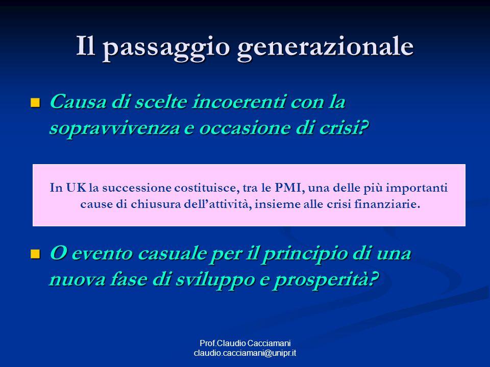 Prof.Claudio Cacciamani claudio.cacciamani@unipr.it Il passaggio generazionale Causa di scelte incoerenti con la sopravvivenza e occasione di crisi? C