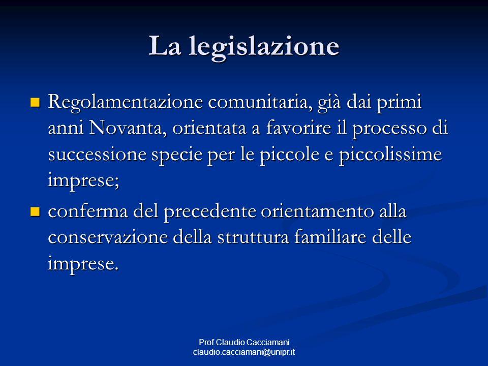 Prof.Claudio Cacciamani claudio.cacciamani@unipr.it La legislazione Regolamentazione comunitaria, già dai primi anni Novanta, orientata a favorire il