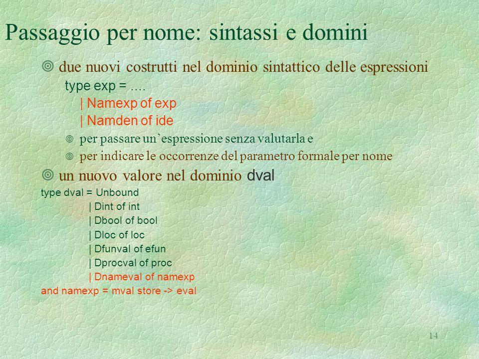 14 Passaggio per nome: sintassi e domini ¥due nuovi costrutti nel dominio sintattico delle espressioni type exp =....