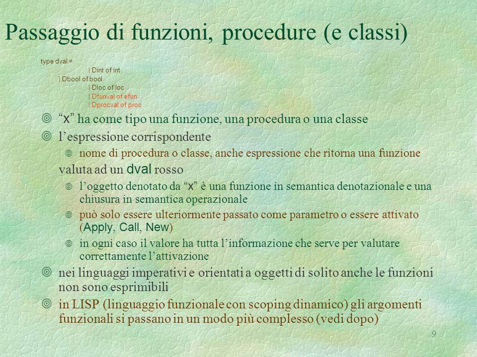 9 Passaggio di funzioni, procedure (e classi) type dval = | Dint of int | Dbool of bool | Dloc of loc | Dfunval of efun | Dprocval of proc  x ha come tipo una funzione, una procedura o una classe ¥l'espressione corrispondente ¥ nome di procedura o classe, anche espressione che ritorna una funzione valuta ad un dval rosso  l'oggetto denotato da x è una funzione in semantica denotazionale e una chiusura in semantica operazionale  può solo essere ulteriormente passato come parametro o essere attivato ( Apply, Call, New ) ¥ in ogni caso il valore ha tutta l'informazione che serve per valutare correttamente l'attivazione ¥nei linguaggi imperativi e orientati a oggetti di solito anche le funzioni non sono esprimibili ¥in LISP (linguaggio funzionale con scoping dinamico) gli argomenti funzionali si passano in un modo più complesso (vedi dopo)