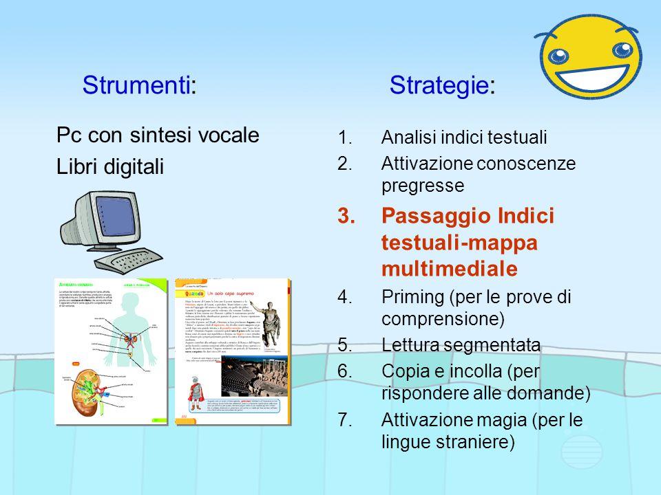 Strumenti:Strategie: Pc con sintesi vocale Libri digitali 1.Analisi indici testuali 2.Attivazione conoscenze pregresse 3.Passaggio Indici testuali-mappa multimediale 4.Priming (per le prove di comprensione) 5.Lettura segmentata 6.Copia e incolla (per rispondere alle domande) 7.Attivazione magia (per le lingue straniere)