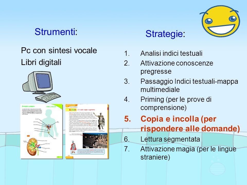 Strumenti: Strategie: Pc con sintesi vocale Libri digitali 1.Analisi indici testuali 2.Attivazione conoscenze pregresse 3.Passaggio Indici testuali-ma