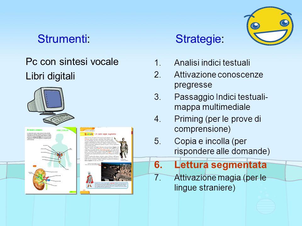 Strumenti:Strategie: Pc con sintesi vocale Libri digitali 1.Analisi indici testuali 2.Attivazione conoscenze pregresse 3.Passaggio Indici testuali- ma