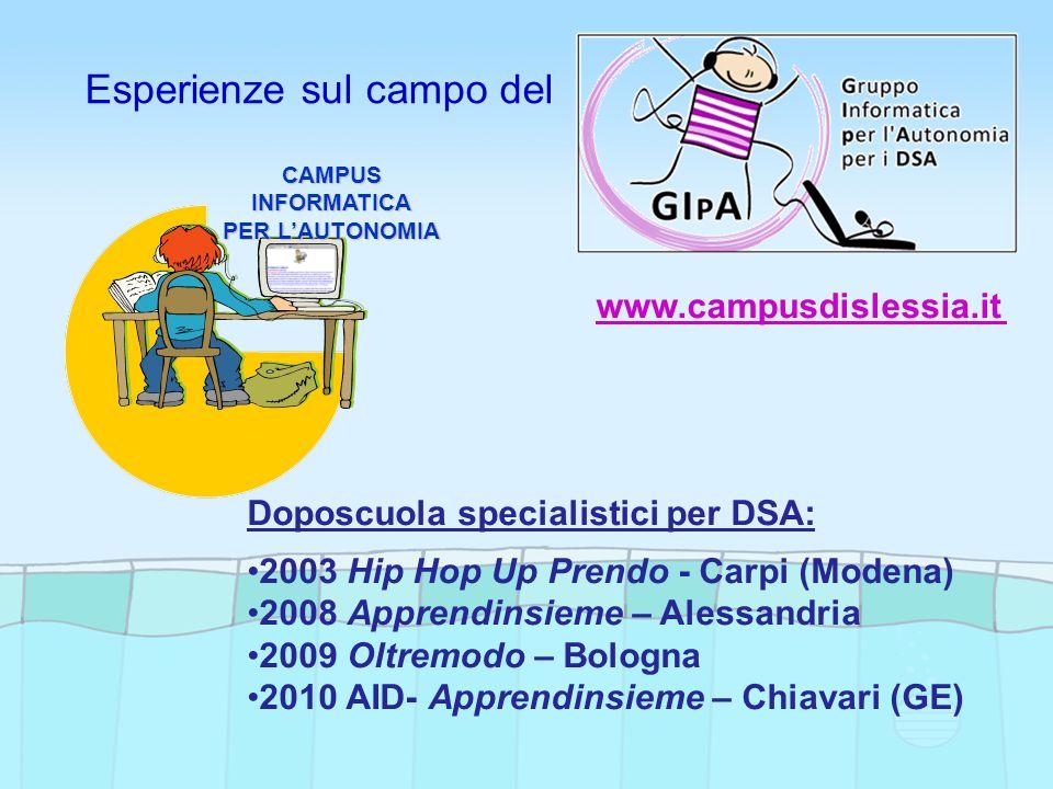 Esperienze sul campo del Doposcuola specialistici per DSA: 2003 Hip Hop Up Prendo - Carpi (Modena) 2008 Apprendinsieme – Alessandria 2009 Oltremodo – Bologna 2010 AID- Apprendinsieme – Chiavari (GE)CAMPUSINFORMATICA PER L'AUTONOMIA www.campusdislessia.it