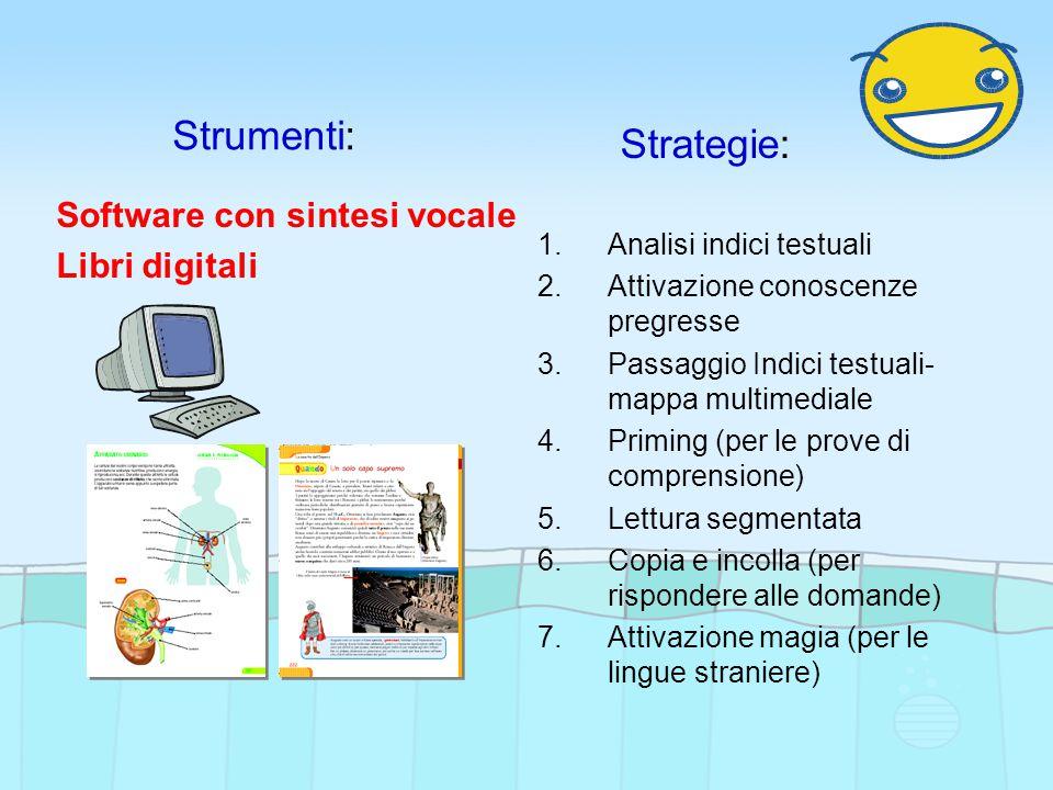 Strumenti: Strategie: Software con sintesi vocale Libri digitali 1.Analisi indici testuali 2.Attivazione conoscenze pregresse 3.Passaggio Indici testuali- mappa multimediale 4.Priming (per le prove di comprensione) 5.Lettura segmentata 6.Copia e incolla (per rispondere alle domande) 7.Attivazione magia (per le lingue straniere)