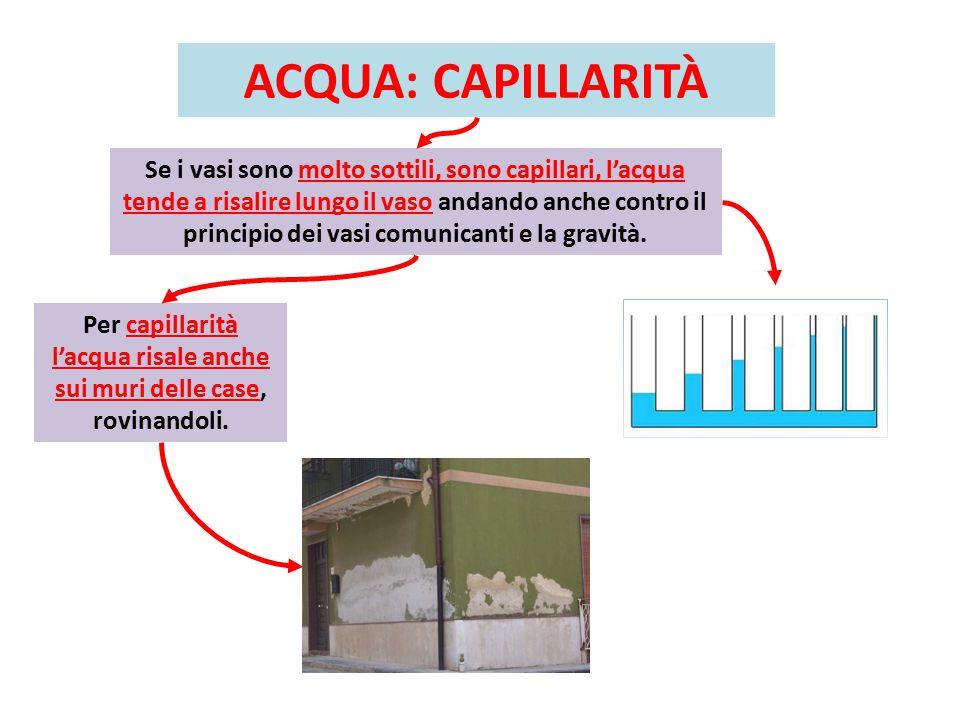 ACQUA: CAPILLARITÀ Se i vasi sono molto sottili, sono capillari, l'acqua tende a risalire lungo il vaso andando anche contro il principio dei vasi comunicanti e la gravità.