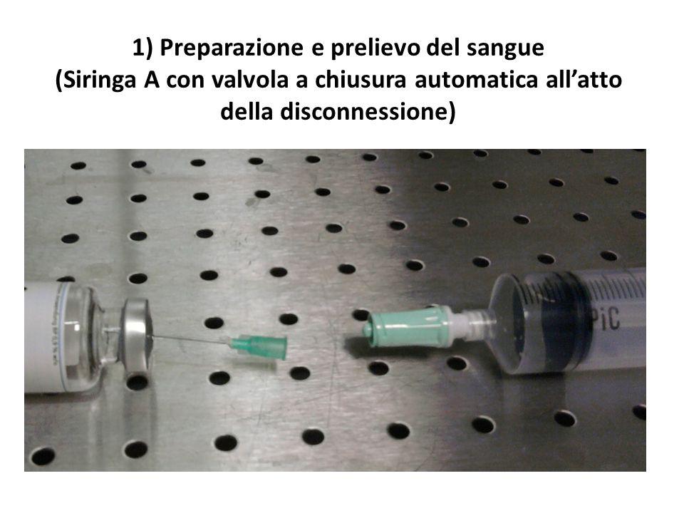 1) Preparazione e prelievo del sangue (Siringa A con valvola a chiusura automatica all'atto della disconnessione)