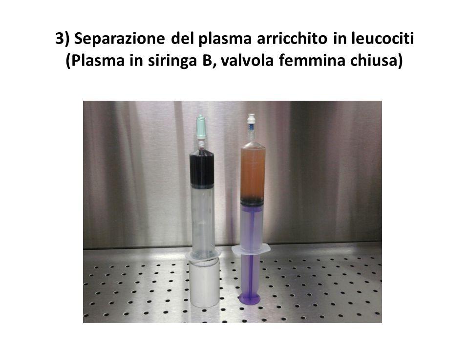 3) Separazione del plasma arricchito in leucociti (Plasma in siringa B, valvola femmina chiusa)